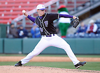 Starting pitcher Ben Carlson (16) of the Furman Paladins in a game against the Michigan State Spartans on February 25, 2012, at Fluor Field in Greenville, South Carolina. (Tom Priddy/Four Seam Images)