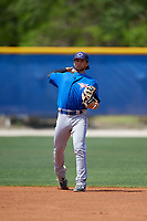 Toronto Blue Jays shortstop Bo Bichette (18) throws to first base during a minor league Spring Training game against the New York Yankees on March 30, 2017 at the Englebert Complex in Dunedin, Florida.  (Mike Janes/Four Seam Images)