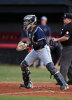 Lake Brantley Patriots catcher Luis Olivier (24) during a game against the Lake Mary Rams on April 2, 2015 at Allen Tuttle Field in Lake Mary, Florida.  Lake Brantley defeated Lake Mary 10-5.  (Mike Janes/Four Seam Images)