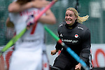 GER - Mannheim, Germany, June 04: During the Final4 semi-final Damen hockey match between Muenchner SC (red) and Rot-Weiss Koeln(white) on June 4, 2016 at Mannheimer HC in Mannheim, Germany. Final score 0-1 (HT 0-0). (Photo by Dirk Markgraf / www.265-images.com) *** Local caption *** Players of Rot-Weiss Koeln celebrate after winning the semi-final and advance to the final, Julia Ciupka of Rot-Weiss Koeln