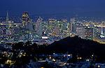 Retro Image of San Francisco downtown San Francisco illuminated at night from Tank Hill overview, San Francisco, California USA