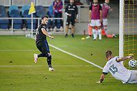 SAN JOSE, CA - SEPTEMBER 16: The shot of Vako is defended by Dario Zuparic #13 of the Portland Timbers during a game between Portland Timbers and San Jose Earthquakes at Earthquakes Stadium on September 16, 2020 in San Jose, California.