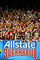 Arkansas fans cheer during the Allstate Sugar Bowl in New Orleans, Louisiana January, 4, 201. The Ohio State Buckeyes defeated the Arkansas Razorbacks, 31- 26.<br /> <br /> <br /> <br /> (Cheryl Gerber/AP Images for Allstate)