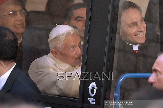 """Pope Benedict XVI  arrive in a bus at Santa Maria degli Angeli's basilica (St Mary of the Angels) to attend the interreligious talks on October 27, 2011. Pope Benedict XVI will lead during the day the 25th Interreligious talks, a """"journey of reflection, dialogue and prayer for peace and justice in the world"""" held in St. Francis of Assisi's birthplace,"""