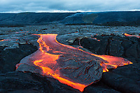 Shape-Shifting Lava Flow: A large surface lava flow seems to transform from a star shape to almost the shape of the State of Texas, 61g flow, Hawai'i Volcanoes National Park, Big Island.