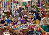 Interlitho-Franco, LANDSCAPES, LANDSCHAFTEN, PAISAJES, paintings+++++,knitting room,KL4631,#l#, EVERYDAY