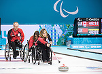 Dennis Thiessen, Ina Forrest and Sonja Gaudet, Sochi 2014 - Wheelchair Curling // Curling en fauteuil roulant.<br />