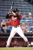 Nashville Sounds second baseman Hainley Statia (16) at bat during the second game of a double header against the Omaha Storm Chasers on May 21, 2014 at Herschel Greer Stadium in Nashville, Tennessee.  Nashville defeated Omaha 13-4.  (Mike Janes/Four Seam Images)