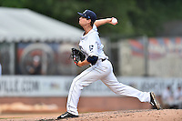 Asheville Tourists pitcher Hayden Jones (11) delivers a pitch during game one of a double header against the Charleston RiverDogs at McCormick Field on July 8, 2016 in Asheville, North Carolina. The RiverDogs defeated the Tourists 10-4 in game one. (Tony Farlow/Four Seam Images)