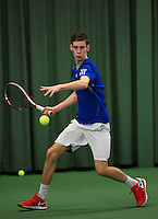 Rotterdam, The Netherlands, 15.03.2014. NOJK 14 and 18 years ,National Indoor Juniors Championships of 2014, Koen Schuurmans (NED)<br /> Photo:Tennisimages/Henk Koster