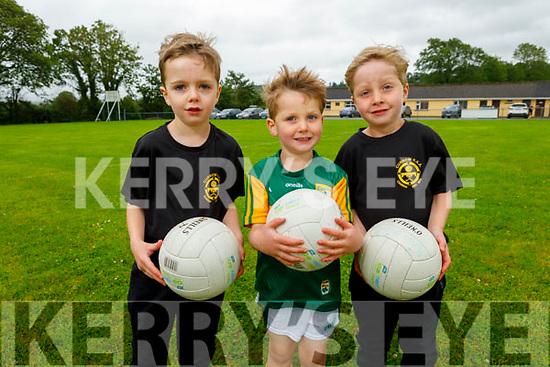 Aaron, Ronan and Gavin Brosnan looking forward to activities on the field as Currow GAA reopen their field.