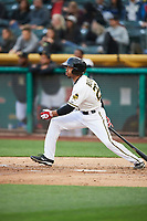 Ben Revere (25) of the Salt Lake Bees bats against the Albuquerque Isotopes at Smith's Ballpark on April 5, 2018 in Salt Lake City, Utah. Salt Lake defeated Albuquerque 9-3. (Stephen Smith/Four Seam Images)