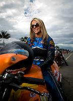Oct. 31, 2008; Las Vegas, NV, USA: NHRA pro stock motorcycle rider Angie McBride during qualifying for the Las Vegas Nationals at The Strip in Las Vegas. Mandatory Credit: Mark J. Rebilas-