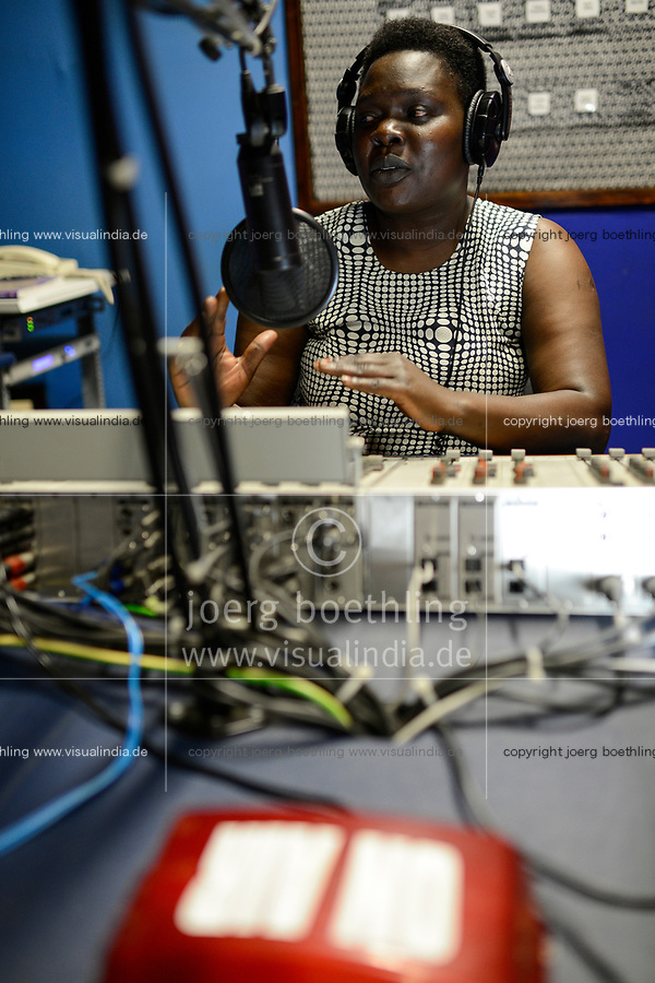 UGANDA, Arua, radio station Radio Pacis, Radio reporter ON AIR