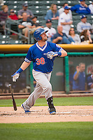 Andy Wilkens (38) of the Oklahoma City Dodgers at bat against the Salt Lake Bees in Pacific Coast League action at Smith's Ballpark on May 27, 2015 in Salt Lake City, Utah.  (Stephen Smith/Four Seam Images)