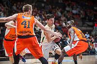 VALENCIA, SPAIN - NOVEMBER 3: Romain Sato, Justin Hamilton, Michele Ruzzier during EUROCUP match between Valencia Basket Club and CAI Zaragozaat Fonteta Stadium on November 3, 2015 in Valencia, Spain