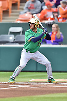 Notre Dame Fighting Irish left fielder Jake Johnson (39) awaits a pitch during a game against the Clemson Tigers at Doug Kingsmore Stadium on March 11, 2017 in Clemson, South Carolina. The Tigers defeated the Fighting Irish 6-5. (Tony Farlow/Four Seam Images)