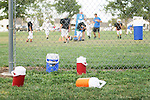 CHAD PILSTER •Hays Daily News<br /> <br /> Water bottles sit on the ground on Tuesday, September 10, 2013, during practice of the third grade Gamblers of the Hays Football Association  at Aubel-Bickle Park in Hays, Kansas.