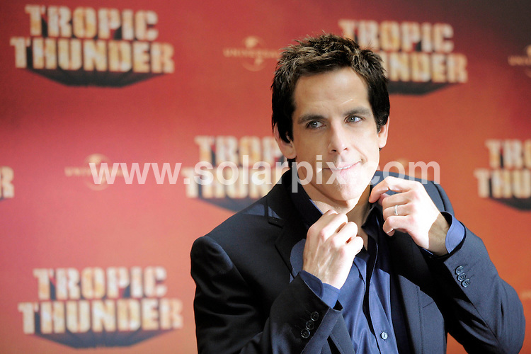 **ALL ROUND PICTURES FROM SOLARPIX.COM**.**SYNDICATION RIGHTS FOR UK AND SPAIN ONLY**.The Hollywood actor Ben Stiller photocall for his new film Tropic Thunder in Berlin in Germany..JOB REF:7353-CPR/Axel Schmidt        DATE:15_09_08.**MUST CREDIT SOLARPIX.COM OR DOUBLE FEE WILL BE CHARGED* *UNDER NO CIRCUMSTANCES IS THIS IMAGE TO BE REPRODUCED FOR ANY ONLINE EDITION WITHOUT PRIOR PERMISSION*