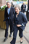 © Joel Goodman - 07973 332324 . 02/10/2017. Manchester, UK. PHILIP HAMMOND and THERSA MAY return from a visit in Manchester at the start of the second day of the Conservative Party Conference at the Manchester Central Convention Centre . Photo credit : Joel Goodman