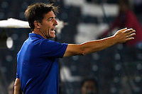 SANTIAGO-CHILE -19-02-2014. El entrenador de O'Higgins Eduardo Berizzo da instrucciones a sus jugadores durante el partido de segunda fase, grupo 3 de la Copa Libertadores de America contra Deportivo Cali disputado en el estadio Monumental de Santiago, Chile./ O'Higgins manager Eduardo Berizzo instructs his players during the second phase, group 3 of the Copa Libertadores championship football match against Deportivo Cali held at Monumental stadium in Santiago, Chile.   Photo: VizzorImage/ Andres Pina /Photosport
