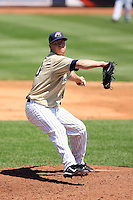 July 10th 2008:  Pitcher Ryan Miller of the Lake County Captains, Class-A affiliate of the Cleveland Indians, during a a game at Classic Park in Eastlake, OH.  Photo by:  Mike Janes/Four Seam Images