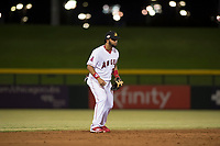 Mesa Solar Sox third baseman Roberto Baldoquin (24), of the Los Angeles Angels organization, during an Arizona Fall League game against the Scottsdale Scorpions at Sloan Park on October 10, 2018 in Mesa, Arizona. Scottsdale defeated Mesa 10-3. (Zachary Lucy/Four Seam Images)