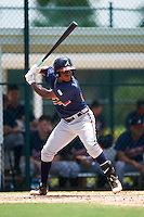 GCL Braves shortstop Nicholas Shumpert (92) at bat during a game against the GCL Pirates on August 10, 2016 at Pirate City in Bradenton, Florida.  GCL Braves defeated the GCL Pirates 5-1.  (Mike Janes/Four Seam Images)