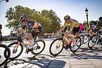 yellow jersey / GC leader Tadej Pogacar (SVN/UAE-Emirates) in Wout van Aerts (BEL/Jumbo-Visma) wheel<br /> <br /> Stage 21 (Final) from Chatou to Paris - Champs-Élysées (108km)<br /> 108th Tour de France 2021 (2.UWT)<br /> <br /> ©kramon
