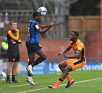 Hull City's Josh Emmanuel and Rochdale's Tolaji Bola<br /> <br /> Photographer Dave Howarth/CameraSport<br /> <br /> The EFL Sky Bet League One - Rochdale v Hull City - Saturday 17th October 2020 - Spotland Stadium - Rochdale<br /> <br /> World Copyright © 2020 CameraSport. All rights reserved. 43 Linden Ave. Countesthorpe. Leicester. England. LE8 5PG - Tel: +44 (0) 116 277 4147 - admin@camerasport.com - www.camerasport.com