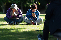 """CARDIFF, UK Despite not yet officially being released in the UK, people have found ways to access the new Pokemon Go app that has taken America by storm. <br /> <br /> People gathered in Cardiff Bay around """"Pokestops"""" (usually landmarks, marked on the game's in-game map) which had had a """"Lure"""" attached to them - an in-game method of attracting more Pokemon to an area, and with them, more users."""