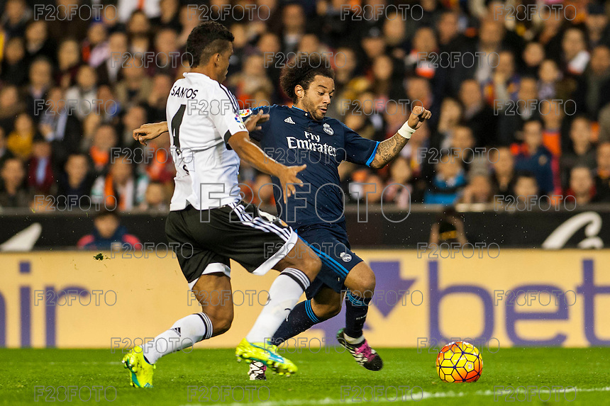 VALENCIA, SPAIN - JANUARY 3: Marcelo during BBVA LEAGUE match between Valencia C.F. and Real Madrid at Mestalla Stadium on January 3, 2015 in Valencia, Spain