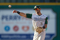 Fort Wayne TinCaps second baseman Kodie Tidwell (3) makes a throw to first base against the West Michigan Whitecaps on May 23, 2016 at Parkview Field in Fort Wayne, Indiana. The TinCaps defeated the Whitecaps 3-0. (Andrew Woolley/Four Seam Images)