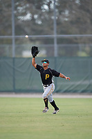 Pittsburgh Pirates Emison Soto (44) catches a fly ball during an Instructional League intrasquad black and gold game on October 11, 2017 at Pirate City in Bradenton, Florida.  (Mike Janes/Four Seam Images)
