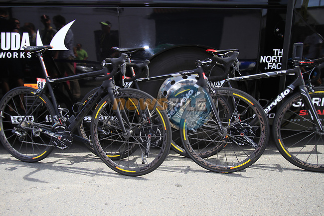 Garmin-Sharp Cervelo bikes lined up at the team bus before the start of Stage 3 of the 99th edition of the Tour de France 2012, running 197km from Orchies to Boulogne-sur-Mere, France. 3rd July 2012.<br /> (Photo by Eoin Clarke/NEWSFILE)