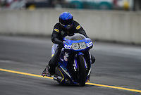 Oct. 6, 2012; Mohnton, PA, USA: NHRA pro stock motorcycle rider Michael Phillips during qualifying for the Auto Plus Nationals at Maple Grove Raceway. Mandatory Credit: Mark J. Rebilas-