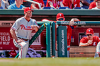 23 August 2018: Philadelphia Phillies Manager Gabe Kapler watches play from the steps of the dugout during a game against the Washington Nationals at Nationals Park in Washington, DC. The Phillies shut out the Nationals 2-0 to take the 3rd game of their 3-game mid-week divisional series. Mandatory Credit: Ed Wolfstein Photo *** RAW (NEF) Image File Available ***