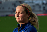 ORLANDO, FL - FEBRUARY 21: Lindsey Horan #9 of the USWNT walks off the field after a game between Brazil and USWNT at Exploria Stadium on February 21, 2021 in Orlando, Florida.