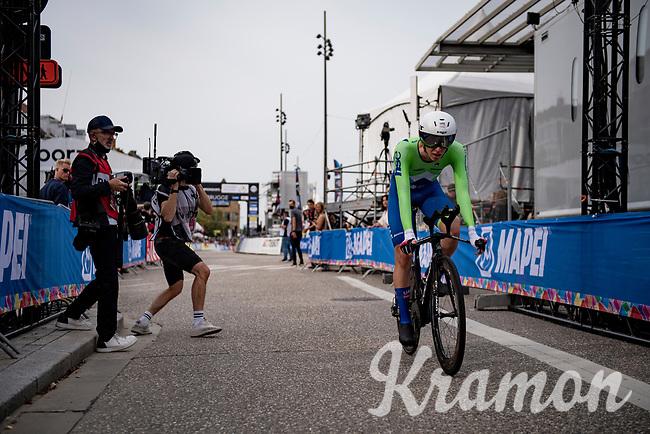 Tadej Pogačar (SVN/UAE-Emirates) finishing<br /> <br /> Men Elite Individual Time Trial <br /> from Knokke-Heist to Bruges (43.3 km)<br /> <br /> UCI Road World Championships - Flanders Belgium 2021<br /> <br /> ©kramon