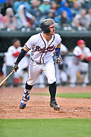 Southern Division catcher Brett Cumberland (28) of the Rome Braves swings at a pitch during the South Atlantic League All Star Game at Spirit Communications Park on June 20, 2017 in Columbia, South Carolina. The game ended in a tie 3-3 after seven innings. (Tony Farlow/Four Seam Images)