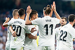 Real Madrid Marco Asensio, Karim Benzema, Gareth Bale, Dani Ceballos and Nacho Fernandez celebrating a goal during La Liga match between Real Madrid and Getafe CF at Santiago Bernabeu in Madrid, Spain. August 19, 2018. (ALTERPHOTOS/Borja B.Hojas)