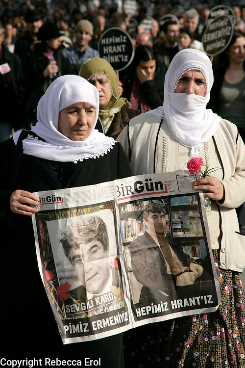 Two ladies at a demonstration after the shooting dead of Armenian journalist Hrant Dink, Istanbul, Turkey. Held on the day of his funeral 23 January 2007