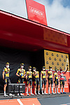 Jumbo-Visma best team from yesterday's stage at sign on before Stage 19 of La Vuelta d'Espana 2021, running 191.2km from Tapia de Casariego to Monforte de Lemos, Spain. 3rd September 2021.    <br /> Picture: Cxcling   Cyclefile<br /> <br /> All photos usage must carry mandatory copyright credit (© Cyclefile   Cxcling)