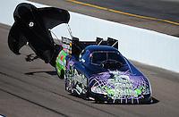 Feb. 18, 2012; Chandler, AZ, USA; NHRA funny car driver Bob Bode during qualifying for the Arizona Nationals at Firebird International Raceway. Mandatory Credit: Mark J. Rebilas-