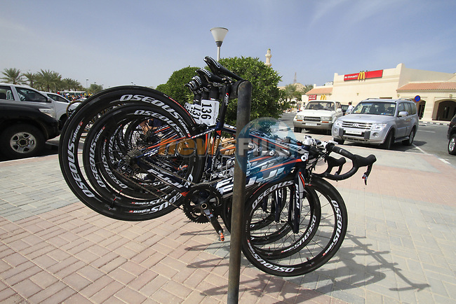 Champion System Fuji bikes lined up before the start of the 3rd Stage of the 2012 Tour of Qatar running 146.5km from Dukhan Souq, Dukhan to Al Gharafa, Qatar. 7th February 2012.<br /> (Photo Eoin Clarke/Newsfile)