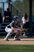 Dominic Camera during the Under Armour All-America Pre-Season Tournament, powered by Baseball Factory, on January 19, 2019 at Fitch Park in Mesa, Arizona.  Dominic Camera is a catcher from Manhasset, New York who attends St. Dominic High School.  (Mike Janes/Four Seam Images)