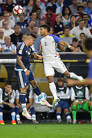 Houston, TX - Tuesday June 21, 2016: Marcos Rojo, DeAndre Yedlin during a Copa America Centenario semifinal match between United States (USA) and Argentina (ARG) at NRG Stadium.