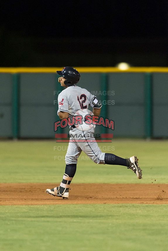 AZL Indians 2 catcher Noah Naylor (12) rounds second base after hitting his first professional home run during an Arizona League game against the AZL Cubs 2 at Sloan Park on August 2, 2018 in Mesa, Arizona. The AZL Indians 2 defeated the AZL Cubs 2 by a score of 9-8. (Zachary Lucy/Four Seam Images)