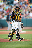 Carlos Perez (19) of the Salt Lake Bees on defense against the Albuquerque Isotopes in Pacific Coast League action at Smith's Ballpark on June 10, 2017 in Salt Lake City, Utah. The Isotopes defeated the Bees 4-2. (Stephen Smith/Four Seam Images)