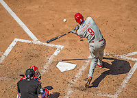 26 May 2013: Philadelphia Phillies left fielder Domonic Brown in action against the Washington Nationals at Nationals Park in Washington, DC. The Nationals defeated the Phillies 6-1, taking the rubber game of their 3-game weekend series. Mandatory Credit: Ed Wolfstein Photo *** RAW (NEF) Image File Available ***